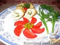 Фото к рецепту: Куриные рулетики с сыром и щавелем
