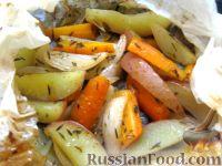 Фото к рецепту: Молодые овощи, запеченные в пергаменте