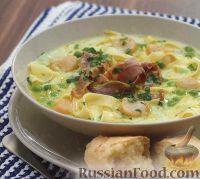 Фото к рецепту: Молочный суп с пастой и морскими гребешками