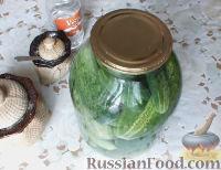 Фото приготовления рецепта: Консервированные огурчики на зиму - шаг №7