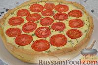 Фото к рецепту: Пирог с творожной начинкой и помидорами