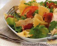 Фото к рецепту: Салат из пасты с овощами и куриным филе
