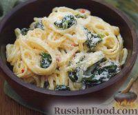 Фото к рецепту: Спагетти со шпинатом