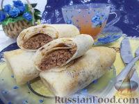 Фото к рецепту: Блинчики с жареным мясом