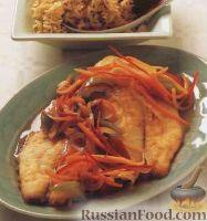 Фото к рецепту: Жареная рыба с овощным соусом стир-фрай