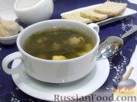 Фото к рецепту: Зеленый борщ с фрикадельками и сельдереем