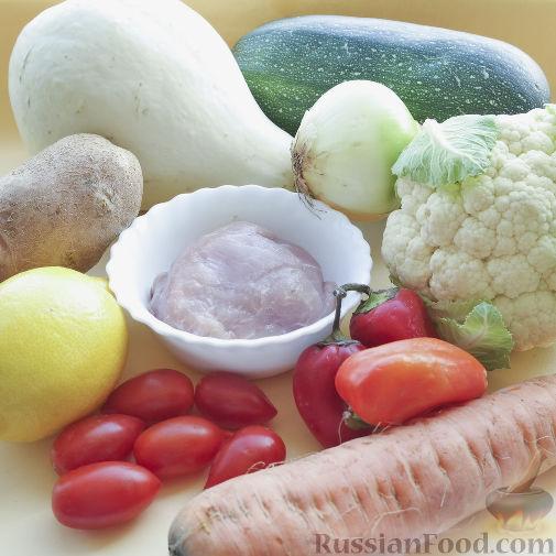 Фото приготовления рецепта: Овощное рагу с мясом в тыкве-кувшинчике - шаг №1