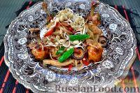 """Фото к рецепту: Лапша удон с овощами и куриные """"ножки"""" из крыльев"""