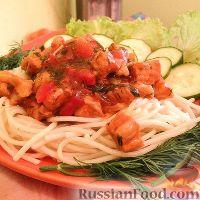 Фото к рецепту: Паста со свининой в томатном соусе