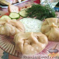 Фото к рецепту: Манты с мясом и грибами