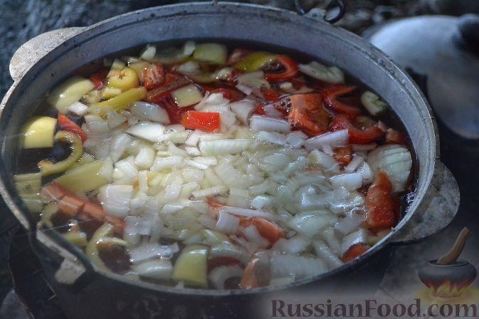 Фото приготовления рецепта: Халасле - венгерский рыбный суп - шаг №4