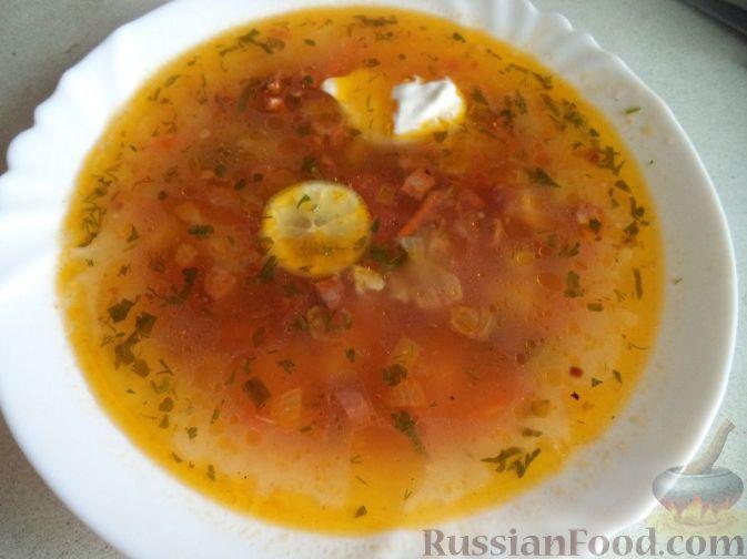 рецепт солянки с охотничьими сосисками