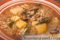 Фото к рецепту: Суп с сушеными грибами и перловкой
