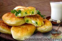 Фото к рецепту: Пирожки с рисом, яйцом и зелёным луком