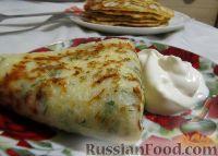 Фото к рецепту: Блины с сыром и зеленью
