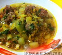 Фото к рецепту: Турецкий суп с чечевицей и мясными шариками