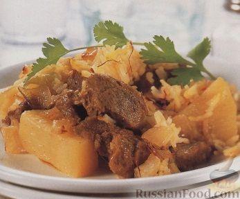 Рецепт Картофель, тушенный с мясом и рисом