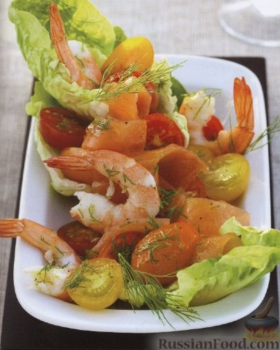 Рецепт Салат с креветками, лососем и помидорами