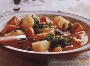 Рецепт Картофельный суп с мясом, фасолью и капустой
