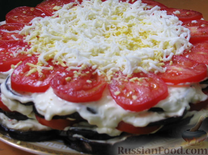 Торт из баклажан с фото с помидорами