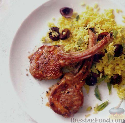 Рецепт Отбивные из баранины на косточке с рисом карри и вишнями