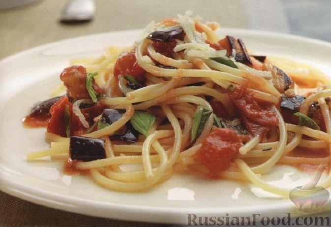Рецепт Спагетти с баклажанами, помидорами и сыром