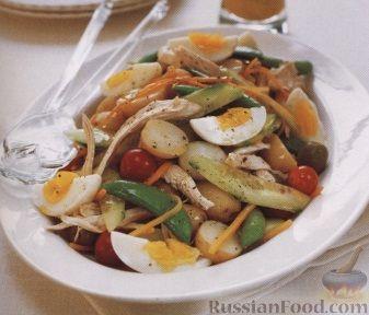 Рецепт Овощной салат с курятиной и яйцами