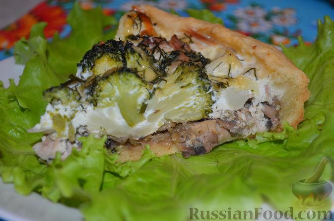 Рецепт Киш-лорен с курицей, грибами и брокколи