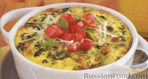 Рецепт Запеканка из шпината с соусом песто