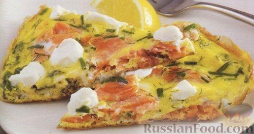Рецепт Омлет с лососем и сливочным сыром