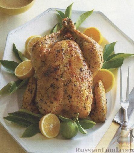 Рецепт Курица, жаренная в духовке с лимоном и тимьяном
