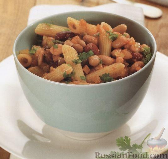 Рецепт Макароны с фасолью и овощами