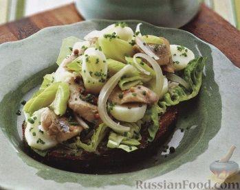 Рецепт Бутерброд с сельдью, картофелем и пореем