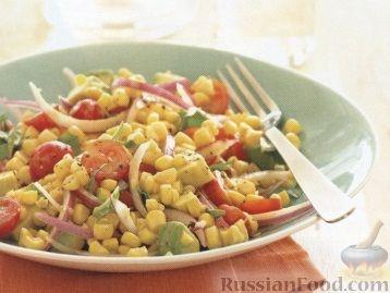 Рецепт Кукурузный салат с помидорами, авокадо и базиликом