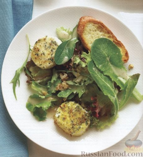 Рецепт Салат с жареным козьим сыром и багетом