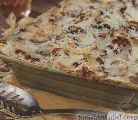 Рецепт Картофель, запеченный с ветчиной в сливочном соусе