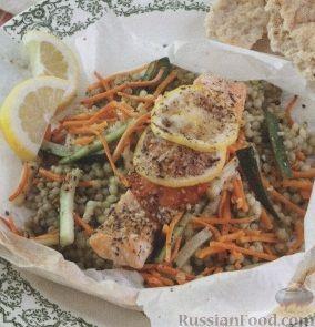 Рецепт Лосось, запеченный с кус-кусом и овощами