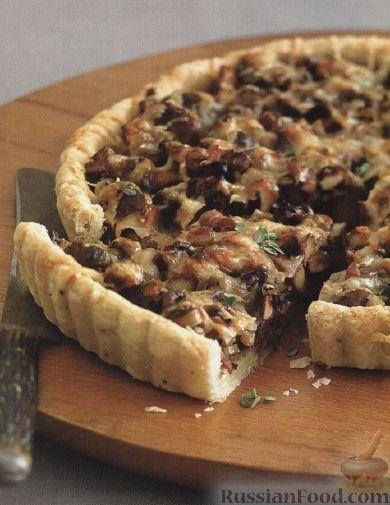 Рецепт Пирог с грибами и луком пореем