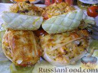 Фото к рецепту: Фаршированные лук и кабачки