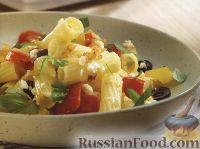 Фото к рецепту: Макароны с творогом, базиликом, оливками и болгарским перцем
