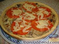 Фото к рецепту: Киш-лорен с грибами и сыром