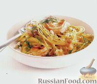 Фото к рецепту: Спагетти с креветками, фетой и укропом