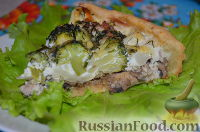 Фото к рецепту: Киш-лорен с курицей, грибами и брокколи
