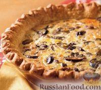 Фото к рецепту: Киш (открытый пирог) с мясным фаршем и грибами