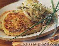 Фото к рецепту: Картофельные оладьи с сельдью