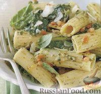 Фото к рецепту: Макароны с соусом песто