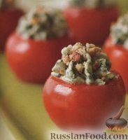 Фото к рецепту: Помидоры, фаршированные сыром со шпинатом и орехами