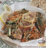 Фото к рецепту: Лосось, запеченный с кус-кусом и овощами