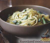 Фото к рецепту: Спагетти со стручковой фасолью и голубым сыром