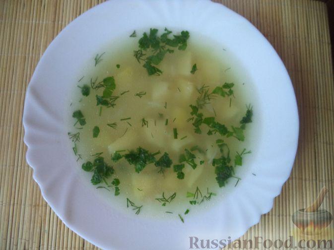 Фото приготовления рецепта: Куриный суп с капустой, сладким перцем и маслинами - шаг №10